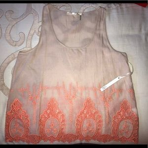 Creme Top with Orange Woven Detail